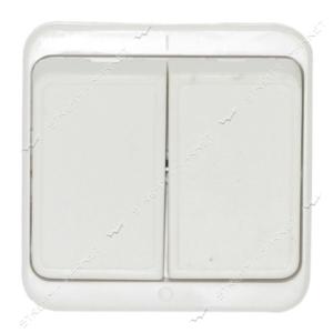 Вимикач двоклавішний для відкритої проводки, (А5-6-247)